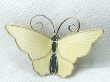 Vintage Sterling Silver David Andersen Norway Yellow Enamel Butterfly Pin