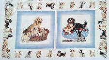 makower uk england ~ PUPPIES PANEL ~ fabric bernese mountain dog retriever puppy