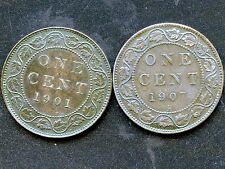 1901 & 1907 'H' Canada Large 1 Cent Coins