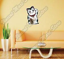 "Maneki-Neko Lucky Cat Cute Money Fortune Wall Sticker Room Interior Decor 18X25"""