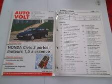 AUTO VOLT HONDA CIVIC 1600 i   (FICHES ET SCHEMAS PLASTIFIES)