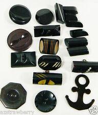 VTG Mix Lot of 19 assorted color black size Rare all bakelite carved buttons