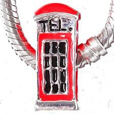 Red UK Phone Box Charm For Bead Fit Silver European Style Charm Bracelets m1617