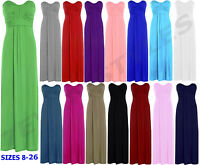 NEW WOMENS STRAPLESS BOW TIE KNOT  BANDEAU BOOBTUBE LONG JERSEY MAXI DRESS 8-26