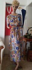 David Jones Vtg 80s Floral S/S Tea Dress with Button Front & Tie Back 12-14/M-L