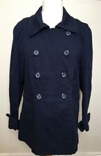 LAURA ASHLEY Navy Blue Cotton Twill Double Breasted Long Sleeve Casual Jacket L