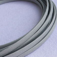 Gray PET Nylon Expandable Braided Tube Sleeve Sheath Dense Audio Cable Wire DIY