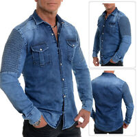 Men's Dark Blue Western Denim Shirt Metal Clips Poppers Cotton Ribbed Arms