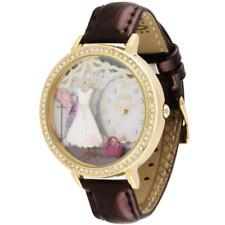 Orologio MINI WATCH 3D ref. MNS1039A Donna cassa dorata con strass pelle marrone