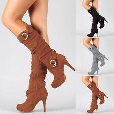 Womens Ladies Mid Calf Zip Buckle Knee Boots Stretch Wide High Heel Pumps Shoes