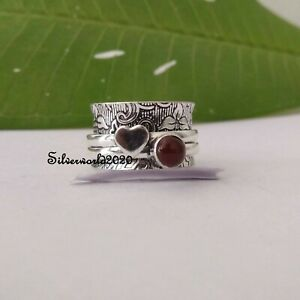 Carnelian Spinner Ring 925 Sterling Silver Plated Handmade Ring Size 7.5 vi339