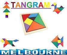 Children Kids Educational Tangram Shape Wooden Puzzle Toy -Geometry Intelligence