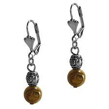 Antiqued Silver Grace Of New York Dangle Beaded Fashion Earrings Beige Jasper