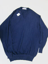 Turnbull & Asser Cashmere V Neck Jumper Sweater - Mens 2XL - Nero Navy - NWT