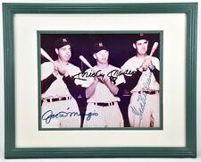 Vintage MLB DiMaggio, Mantle, Williams Autographed Signed 8X10 Sepia Photo. COA.