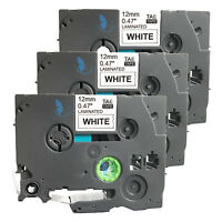 3 New Label Tape for Brother PT 1010 1090 1120 1130 11Q 1280 SR 1290 BT 9800PCN