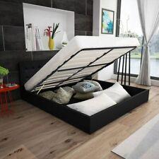 vidaXL Bed met Opslagruimte Hydraulisch 140 cm Kunstleer Zwart Bedden Bedframe