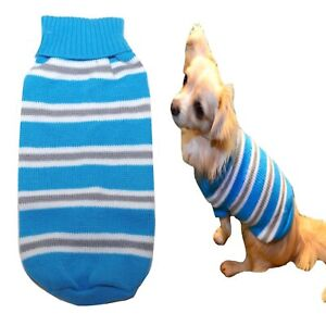 Dog Sweater Blue Stripe XXS XS S M L- Knitted Jumper Coat Puppy Jacket Chihuahua