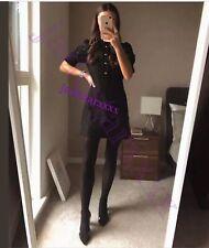 Black Zara Lace Dress Rhinestone Buttons S Small 8 New