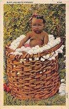 A41/ Black Americana Postcard c1940s Black and White Symphony Basket Cotton 1
