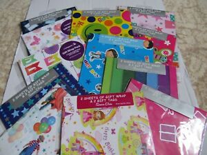 FLAT WRAP - BIRTHDAY AND OCCASSION WRAPPING PAPER 2 SHEETS AND 2 GIFT TAGS