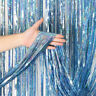 Light Blue Foil Curtains Chrome Metal Shimmer Curtain For Birthday Wedding Party
