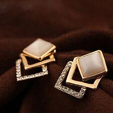 Gold Damen Ohrringe Kristall Strass Ohr Stud Ohrstecker Ohrring Schmuck-1-Paar