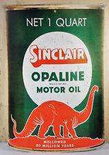 SINCLAIR OPALINE MOTOR OIL ONE QUART CAN RED DINOSAUR HEAVY GAUGE METAL ADV SIGN