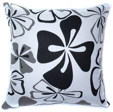 AF60a Black Grey Flower Cotton Canvas Cushion Cover/Pillow Case *Custom Size*