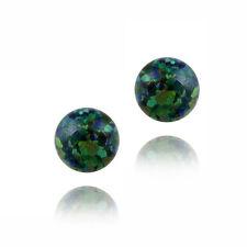 925 Silver Lab Created Dark Green Opal Ball Stud Earrings, 8mm