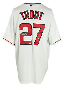 Mike Trout Signed Angels Majestic White Baseball Jersey The Kiiid MLB Hologram