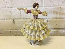 Vintage Wilhelm Rittirsch Dresden Art Porcelain Lace Figurine Woman / Dancer