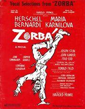 "Kander & Ebb ""ZORBA"" Herschel Bernardi / Maria Karnilova 1968 Vocal Selections"