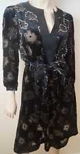 JIGSAW Black Velvet Floral Abstract Sheer Detail Tie Belted Waist Dress UK12