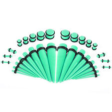 Ear Stretching Kit Glow Tapers with Plugs - 36 Pieces 14G - 00G UV Glow Aqua