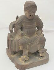 "Teak Wood Carving Chinese Sculpture Ancient Dynasty Rare Original Art 4"" x 7"""