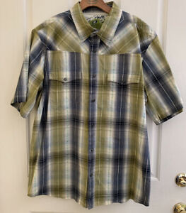 Sideout Western Plaid Surf Shirt Pearl Snaps Men's Size XL Short Sleeves