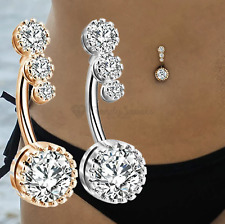 Celebrity Silver Gold Cubic Zircon Dangle Navel Ring Belly Button Body Piercing