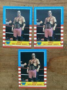 3 1987 Topps WWF  Bret Hit Man Hart Rookie  Wrestling Stars Cards   EX!!!