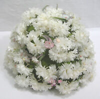 Vintage Ladies Hat White Daisy Explosion Green Leaves Pink Blossoms 1960s