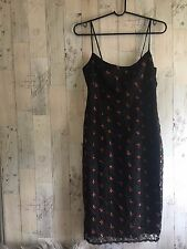 Black Nanette Lepore Floral Embroidered Lace Dress 90s Grunge Size 4