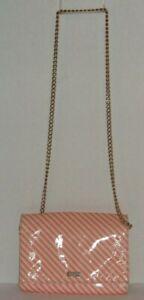 KATE SPADE Pink Beige Patent Leather Diagonal Stripes Crossbody Bag