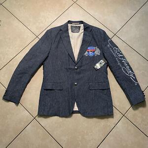 NWT Ed Hardy By Christian Audigier Tattoo Blazer Sports Coat Mens Large Linen L