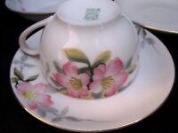 4 pc Antique Morimura Noritake Nippon Pink Flowers Cup & Saucer, Bowl, Plate