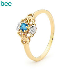 Diamond Swiss Blue Topaz 9k 9ct Solid Yellow Gold Solitaire With Accents Rings