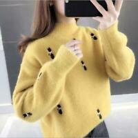Womens Fashion Embroidered Mink Like Pullover Loose Knitted Sweater Cardigan SKG