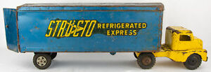 Vintage 1950s Structo Pressed Steel Refrigerated Express Tractor Trailer Truck