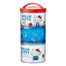 Hello Kitty 70's Clear Round 3 layers Lunch Boxes SET - Food Container Lunch Box