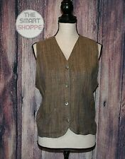 FLAX by Jeanne Engelhart Womens Small Brown Tan Striped Linen Button Front Vest