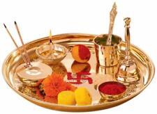 """New Brass Pooja Puja Aarti Thali Plate Worship Ritual, 10"""""""